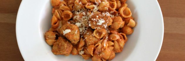 Mini Chicken Meatballs in Tomato Cream Sauce