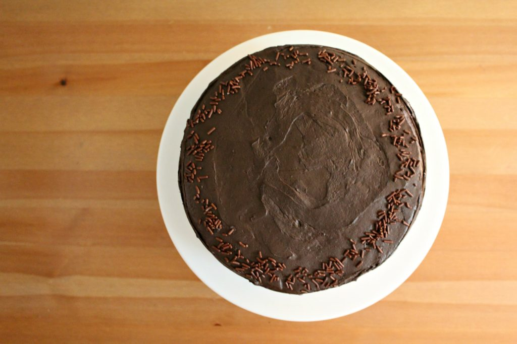 Six Layer Whipped Ganache Filled Chocolate Cake With Dark Chocolate