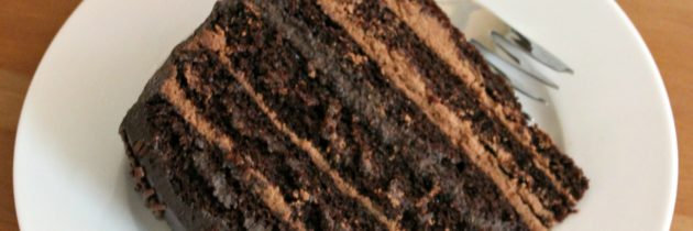 Six Layer Whipped Ganache filled Chocolate Cake with Dark Chocolate Cream Cheese Frosting
